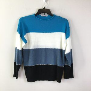 MISSLOOK Womens Bold Colorblock Blue Knit Sweater